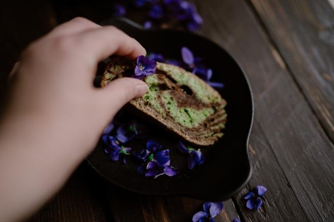 Cake marbré chocolat & pistache-9