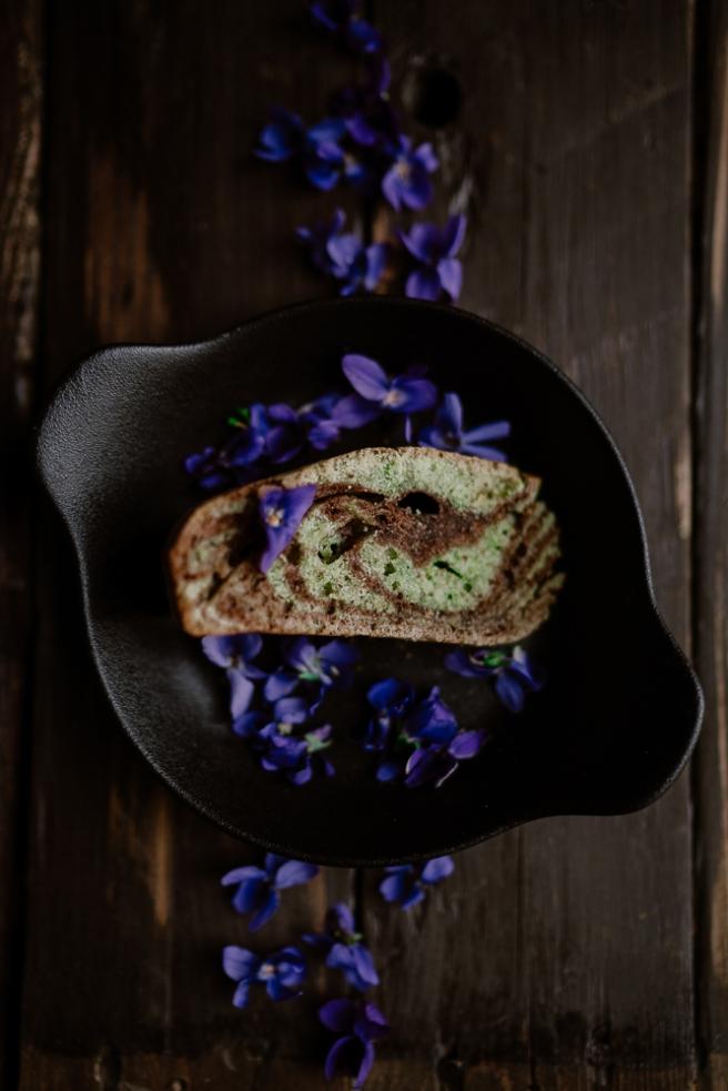 Cake marbré chocolat & pistache